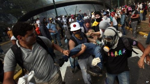 The anti-government protest in eastern Caracas 13 March ended in clashes with Venezuelan police BBC