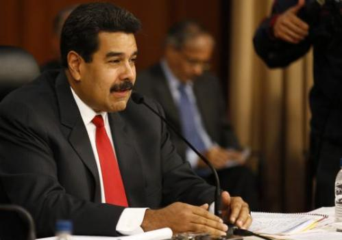 Venezuela Pres. Nicolas Maduro during first UNASUR-and-Vatican mediated peace talk with opposition in Caracas 10 April (Reuters)