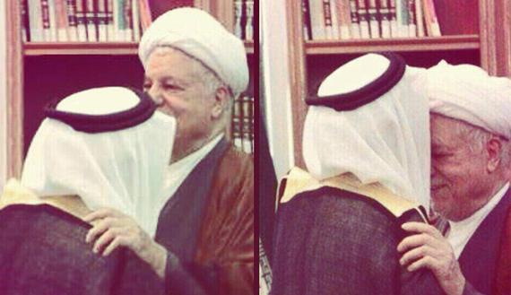 Figure 1.  Ayatollah Hashemi Rafsanjani (R) exchanges greetings with the new Saudi Arabian ambassador to Iran, Abdulrahman Bin Groman Shahri in Tehran, April 22, 2014. (photo by Twitter/ISNA)    Read more: http://www.al-monitor.com/pulse/originals/2014/04/rafsanjani-saudi-ambassador-kiss-controversy.html#ixzz32ktJuoKR